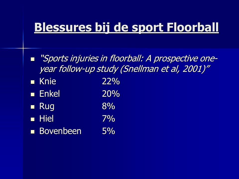 "Blessures bij de sport Floorball ""Sports injuries in floorball: A prospective one- year follow-up study (Snellman et al, 2001)"" ""Sports injuries in fl"