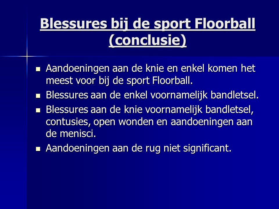Blessures bij de sport Floorball (conclusie) Aandoeningen aan de knie en enkel komen het meest voor bij de sport Floorball.