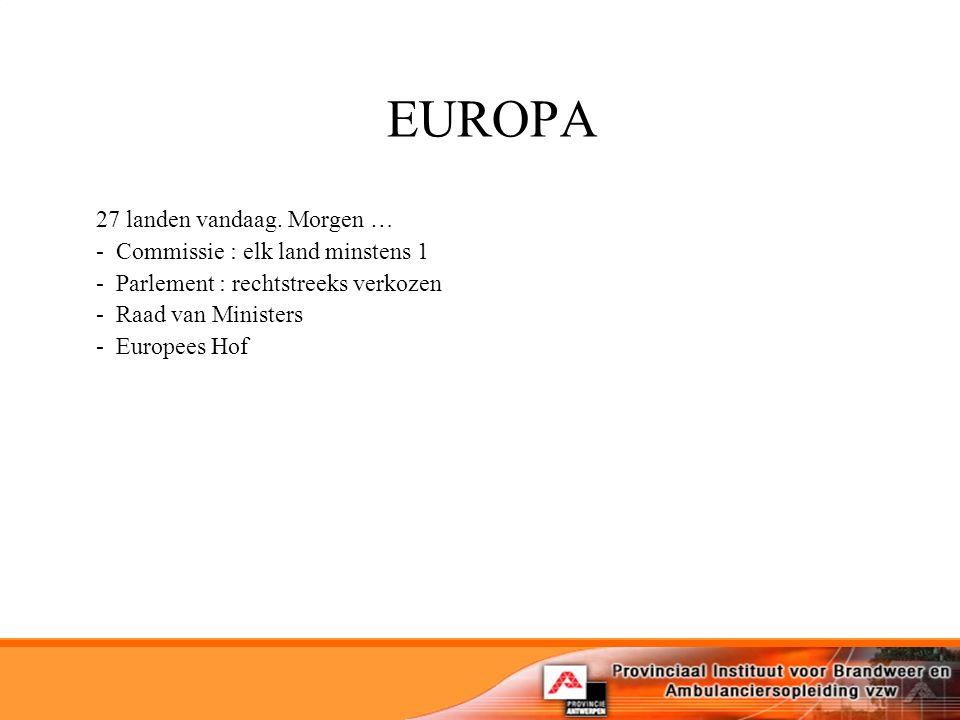 EUROPA 27 landen vandaag.