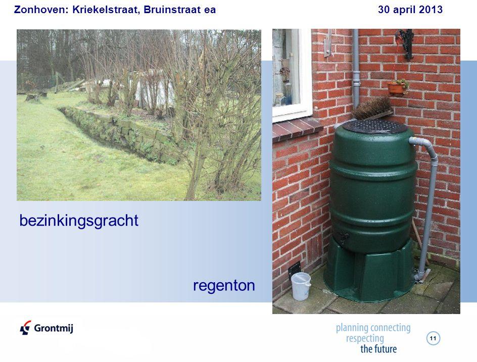 Zonhoven: Kriekelstraat, Bruinstraat ea 30 april 2013 11 bezinkingsgracht regenton