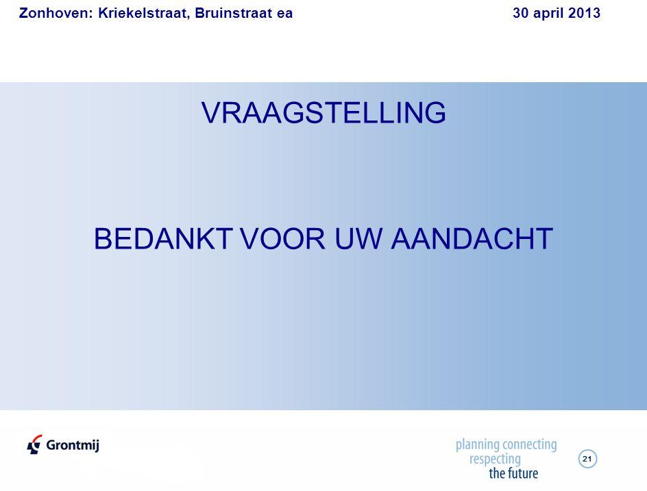 Zonhoven: Kriekelstraat, Bruinstraat ea 30 april 2013 21 VRAAGSTELLING BEDANKT VOOR UW AANDACHT