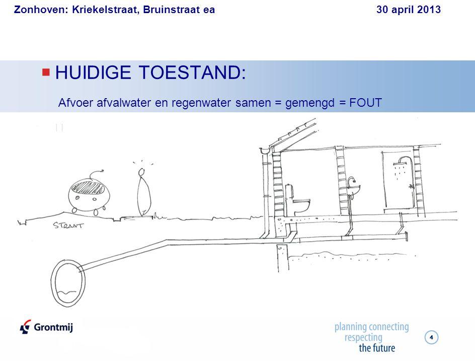Zonhoven: Kriekelstraat, Bruinstraat ea 30 april 2013 44  HUIDIGE TOESTAND: Afvoer afvalwater en regenwater samen = gemengd = FOUT