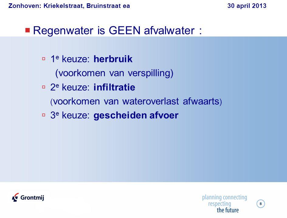 Zonhoven: Kriekelstraat, Bruinstraat ea 30 april 2013 9  HERGEBRUIK: Regenwaterput  Hergebruik:  WC  wasmachine  tuin/auto/kuis  Overloop naar:  infiltratievoorziening  regenwaterriool