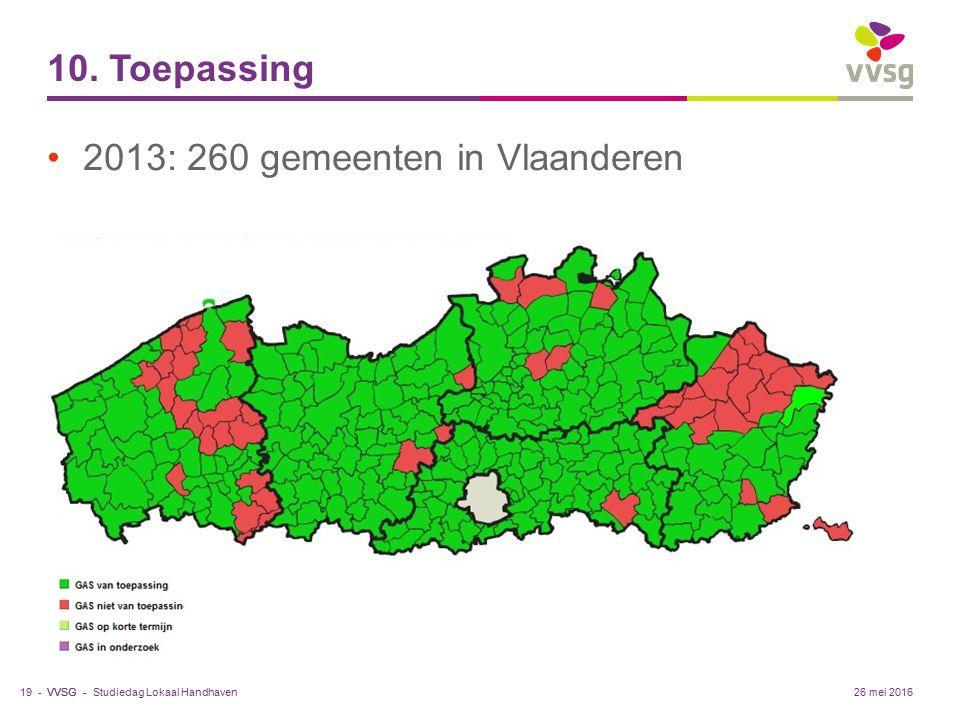 VVSG - 10. Toepassing 2013: 260 gemeenten in Vlaanderen Studiedag Lokaal Handhaven19 -26 mei 2016