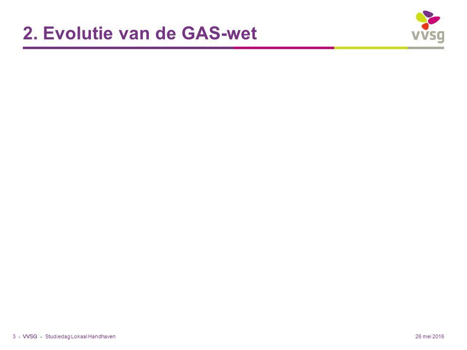 VVSG - 2. Evolutie van de GAS-wet Studiedag Lokaal Handhaven3 -26 mei 2016