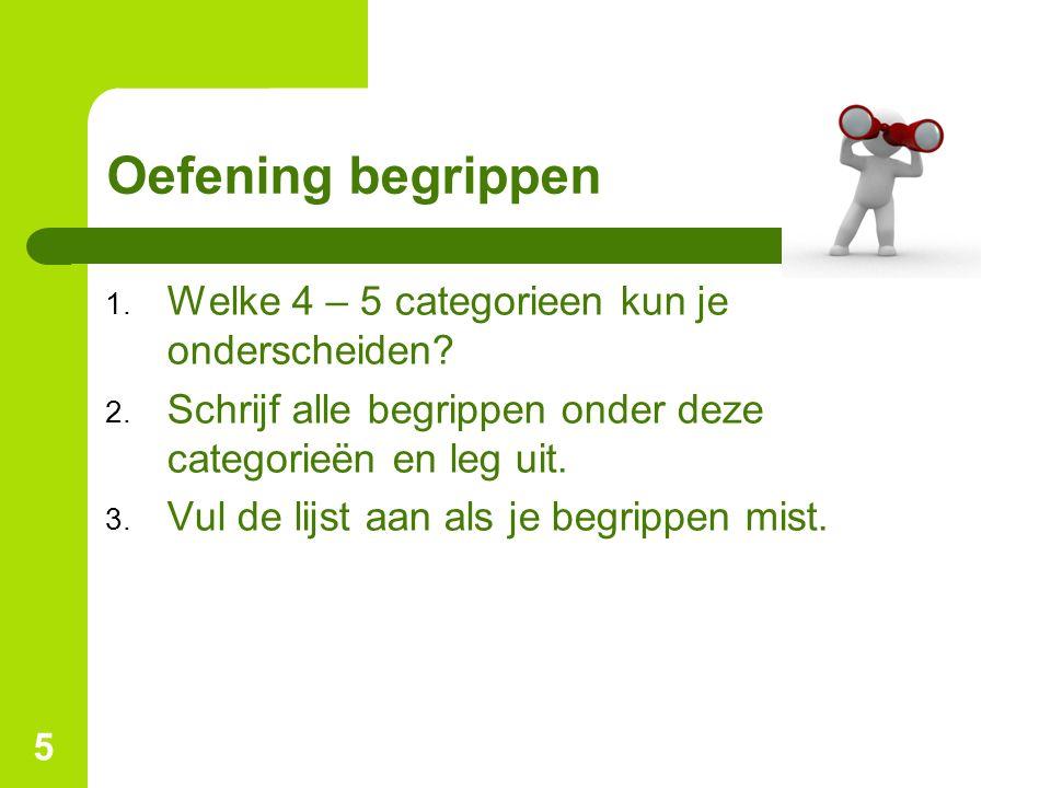 5 Oefening begrippen 1. Welke 4 – 5 categorieen kun je onderscheiden? 2. Schrijf alle begrippen onder deze categorieën en leg uit. 3. Vul de lijst aan