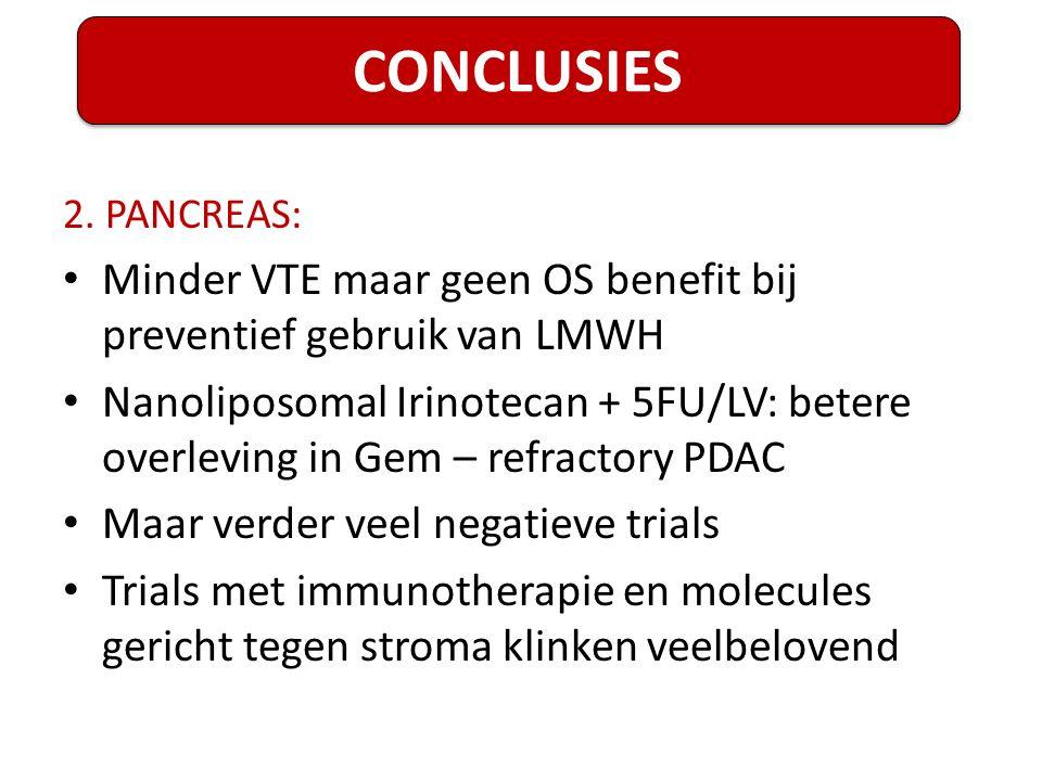2. PANCREAS: Minder VTE maar geen OS benefit bij preventief gebruik van LMWH Nanoliposomal Irinotecan + 5FU/LV: betere overleving in Gem – refractory