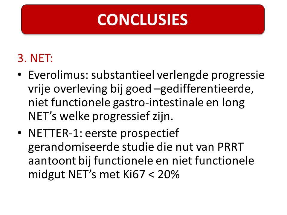 3. NET: Everolimus: substantieel verlengde progressie vrije overleving bij goed –gedifferentieerde, niet functionele gastro-intestinale en long NET's