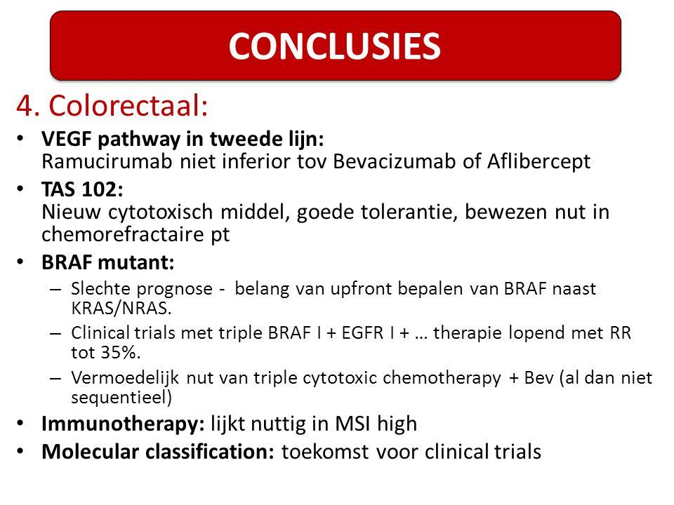 4. Colorectaal: VEGF pathway in tweede lijn: Ramucirumab niet inferior tov Bevacizumab of Aflibercept TAS 102: Nieuw cytotoxisch middel, goede toleran