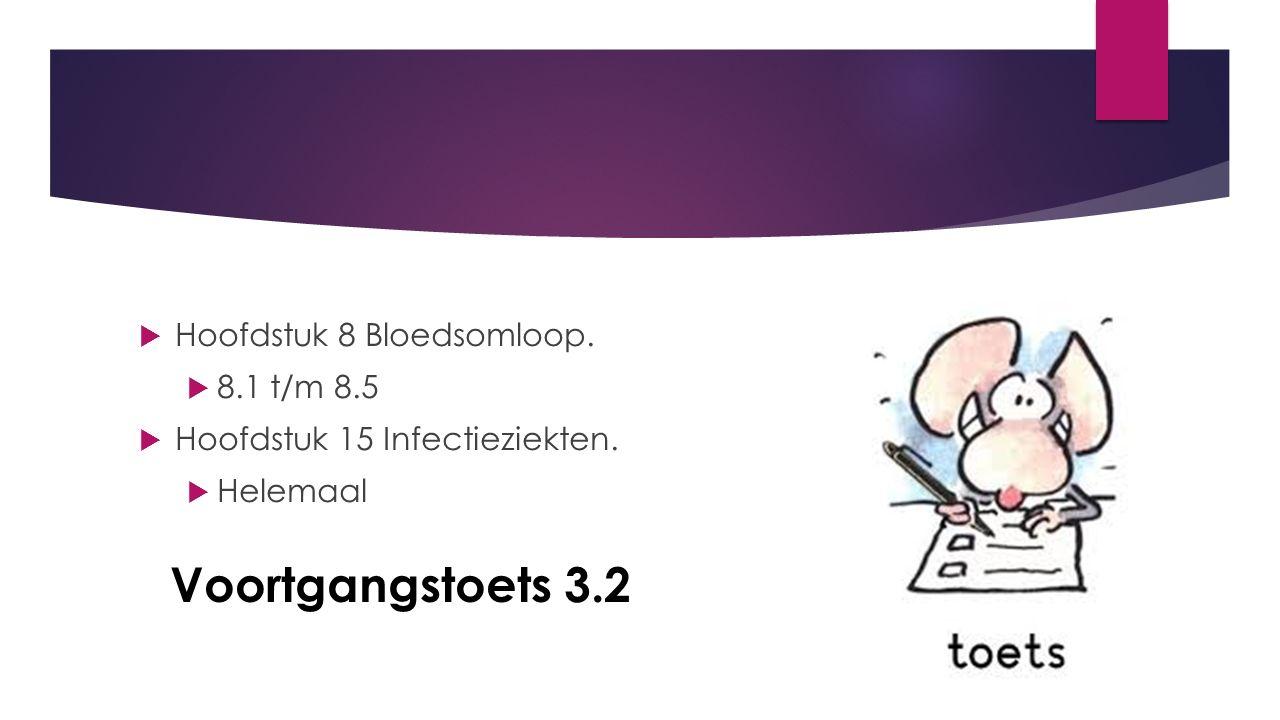 Voortgangstoets 3.2  Hoofdstuk 8 Bloedsomloop.  8.1 t/m 8.5  Hoofdstuk 15 Infectieziekten.  Helemaal