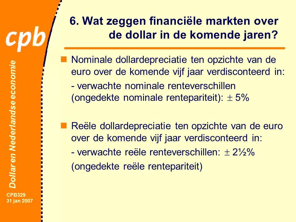 Dollar en Nederlandse economie CPB329 31 jan 2007 6.