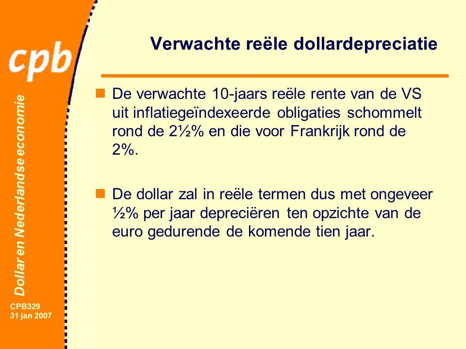 Dollar en Nederlandse economie CPB329 31 jan 2007 Verwachte reële dollardepreciatie De verwachte 10-jaars reële rente van de VS uit inflatiegeïndexeerde obligaties schommelt rond de 2½% en die voor Frankrijk rond de 2%.