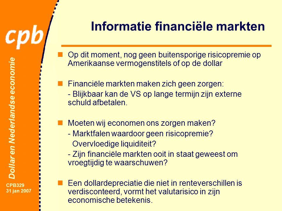 Dollar en Nederlandse economie CPB329 31 jan 2007 Informatie financiële markten Op dit moment, nog geen buitensporige risicopremie op Amerikaanse vermogenstitels of op de dollar Financiële markten maken zich geen zorgen: - Blijkbaar kan de VS op lange termijn zijn externe schuld afbetalen.