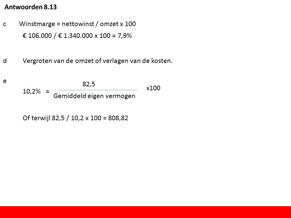 cWinstmarge = nettowinst / omzet x 100 € 106.000 / € 1.340.000 x 100 = 7,9% dVergroten van de omzet of verlagen van de kosten.