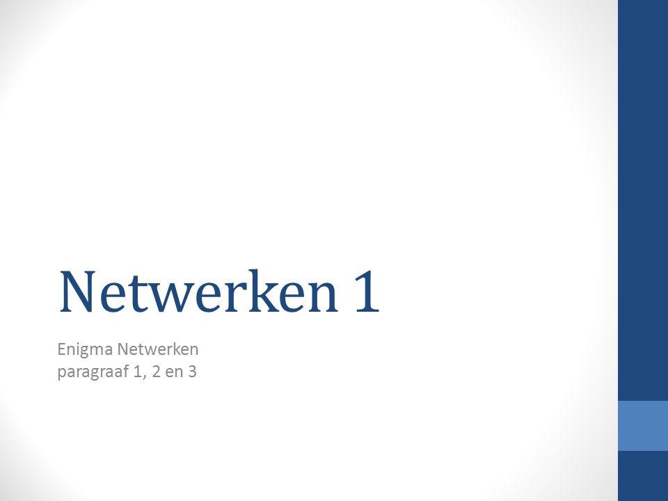 Netwerken 1 Enigma Netwerken paragraaf 1, 2 en 3