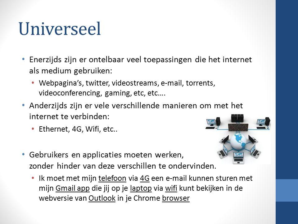 Universeel Enerzijds zijn er ontelbaar veel toepassingen die het internet als medium gebruiken: Webpagina's, twitter, videostreams, e-mail, torrents,