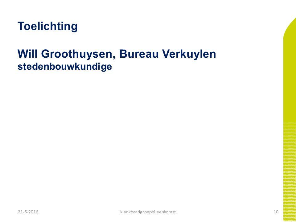 21-6-201610klankbordgroepbijeenkomst Toelichting Will Groothuysen, Bureau Verkuylen stedenbouwkundige
