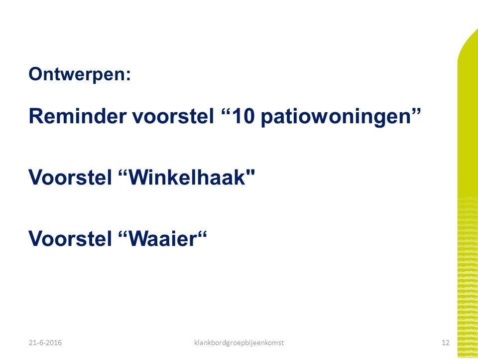 """21-6-201612klankbordgroepbijeenkomst Ontwerpen: Reminder voorstel """"10 patiowoningen"""" Voorstel """"Winkelhaak"""