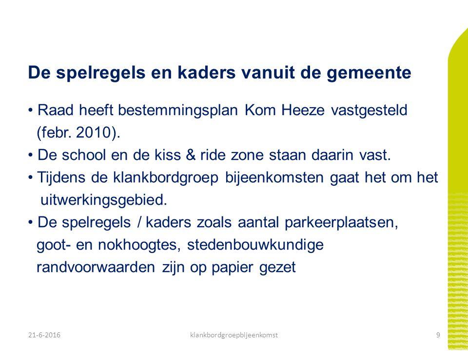 21-6-20169klankbordgroepbijeenkomst De spelregels en kaders vanuit de gemeente Raad heeft bestemmingsplan Kom Heeze vastgesteld (febr. 2010). De schoo