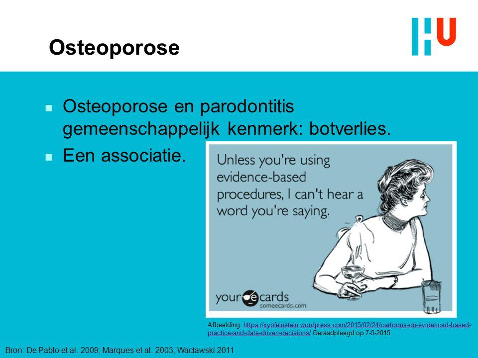 Osteoporose n Osteoporose en parodontitis gemeenschappelijk kenmerk: botverlies. n Een associatie. Bron: De Pablo et al. 2009; Marques et al. 2003; Wa