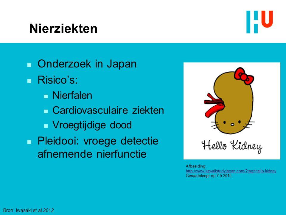 Nierziekten n Onderzoek in Japan n Risico's: n Nierfalen n Cardiovasculaire ziekten n Vroegtijdige dood n Pleidooi: vroege detectie afnemende nierfunc