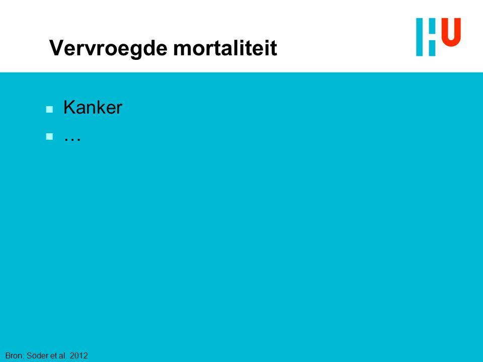 Vervroegde mortaliteit n Kanker n … Bron: Söder et al. 2012
