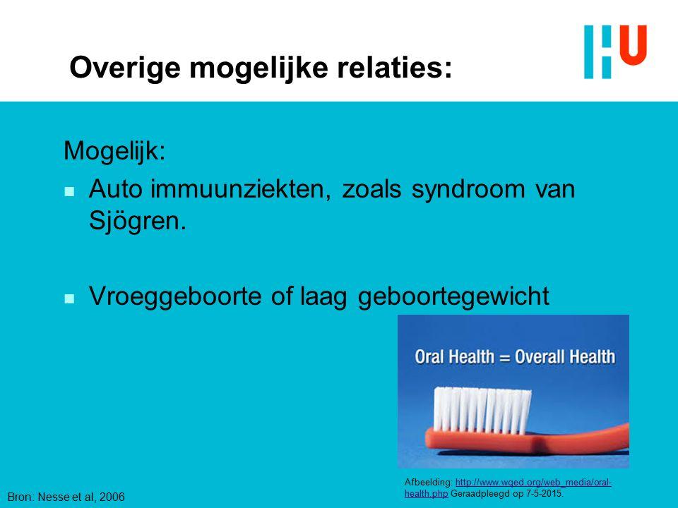 Overige mogelijke relaties: Mogelijk: n Auto immuunziekten, zoals syndroom van Sjögren. n Vroeggeboorte of laag geboortegewicht Afbeelding: http://www
