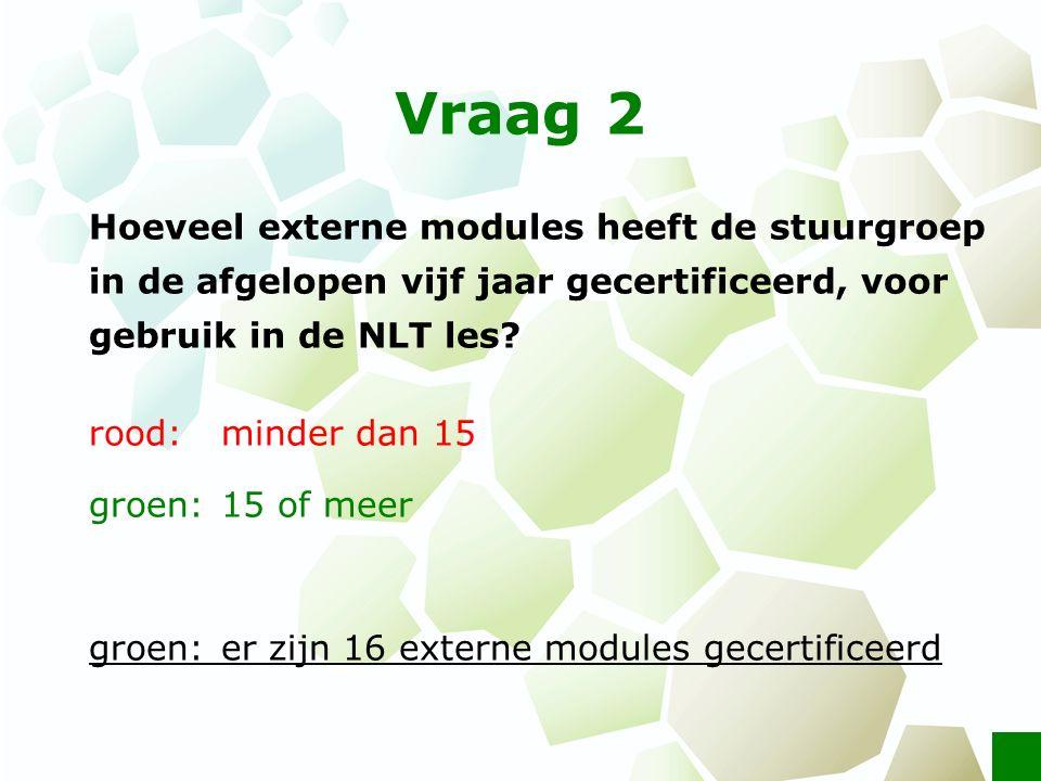 Vraag 2 Hoeveel externe modules heeft de stuurgroep in de afgelopen vijf jaar gecertificeerd, voor gebruik in de NLT les? rood: minder dan 15 groen: 1