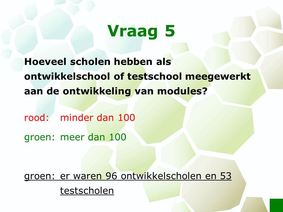 Vraag 5 Hoeveel scholen hebben als ontwikkelschool of testschool meegewerkt aan de ontwikkeling van modules? rood: minder dan 100 groen: meer dan 100