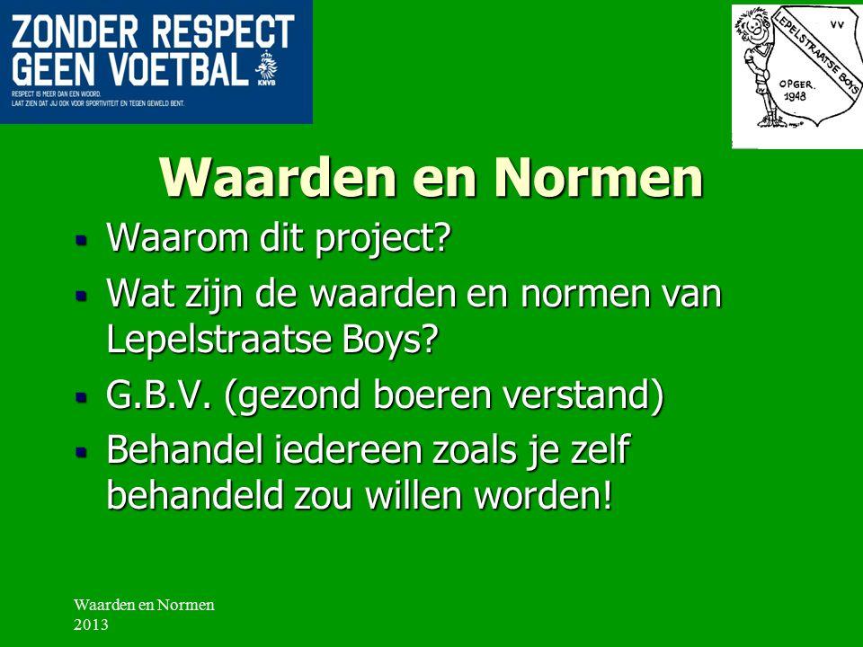Waarden en Normen  Waarom dit project. Wat zijn de waarden en normen van Lepelstraatse Boys.