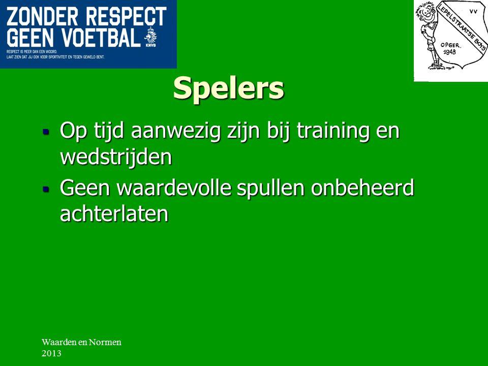 Spelers Respect tonen:  Voor de tegenstander  Voor de medespelers  Voor de scheidsrechter  Voor de begeleider/trainer  Voor de supporters  Voor de accommodatie Waarden en Normen 2013
