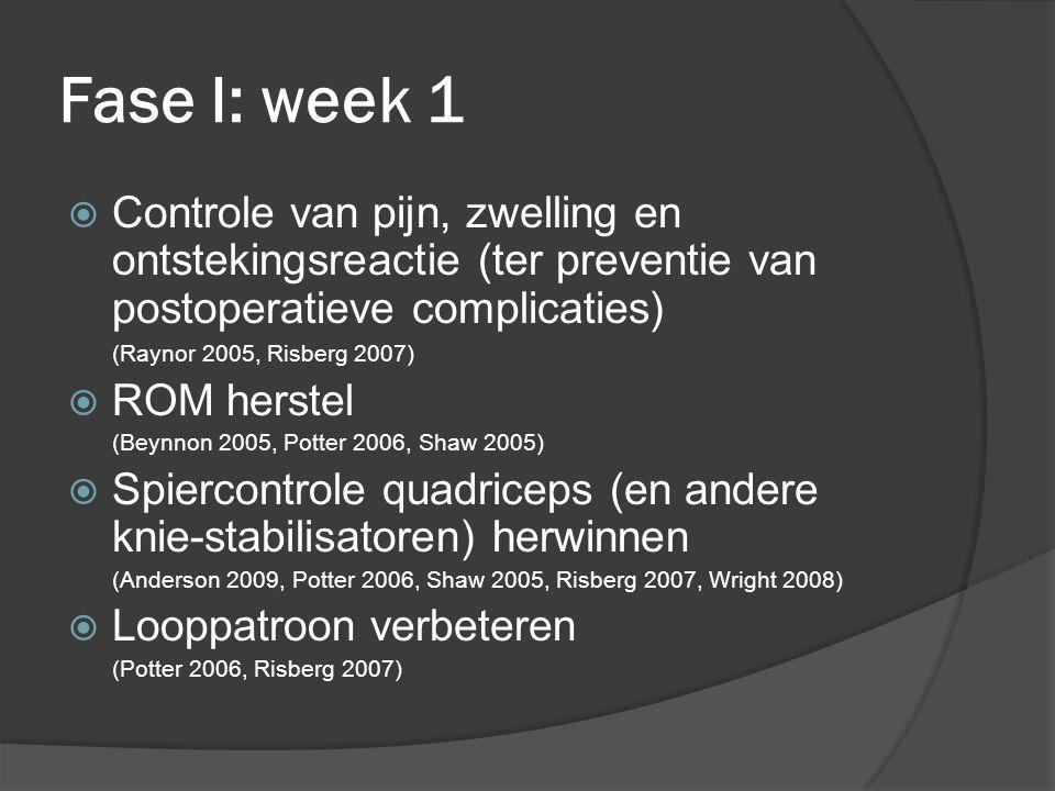 Fase I: week 1  Controle van pijn, zwelling en ontstekingsreactie (ter preventie van postoperatieve complicaties) (Raynor 2005, Risberg 2007)  ROM herstel (Beynnon 2005, Potter 2006, Shaw 2005)  Spiercontrole quadriceps (en andere knie-stabilisatoren) herwinnen (Anderson 2009, Potter 2006, Shaw 2005, Risberg 2007, Wright 2008)  Looppatroon verbeteren (Potter 2006, Risberg 2007)