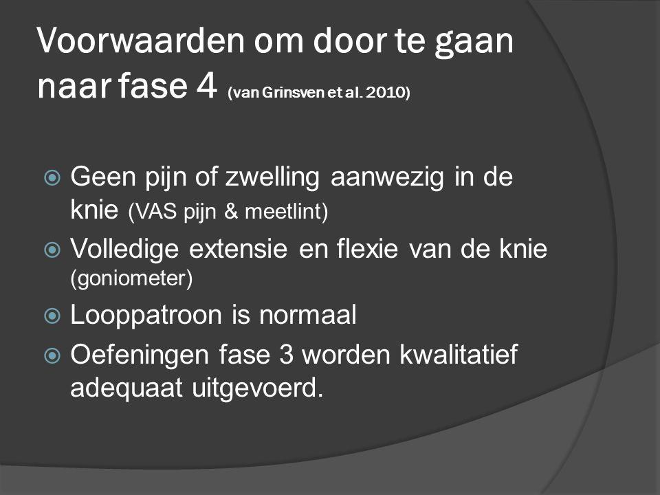 Voorwaarden om door te gaan naar fase 4 (van Grinsven et al. 2010)  Geen pijn of zwelling aanwezig in de knie (VAS pijn & meetlint)  Volledige exten