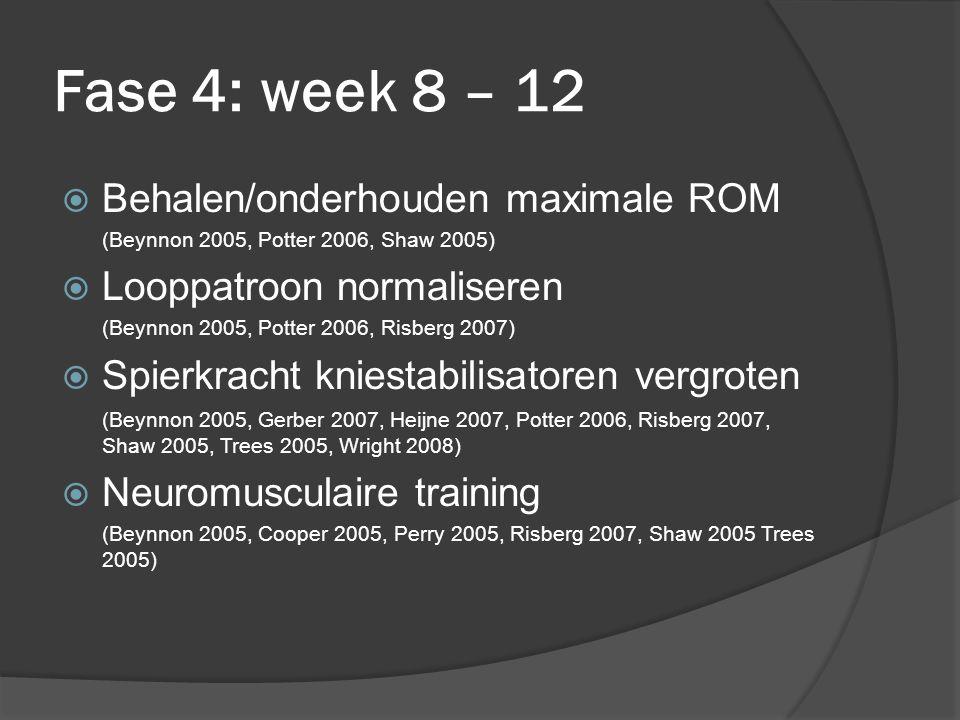 Fase 4: week 8 – 12  Behalen/onderhouden maximale ROM (Beynnon 2005, Potter 2006, Shaw 2005)  Looppatroon normaliseren (Beynnon 2005, Potter 2006, Risberg 2007)  Spierkracht kniestabilisatoren vergroten (Beynnon 2005, Gerber 2007, Heijne 2007, Potter 2006, Risberg 2007, Shaw 2005, Trees 2005, Wright 2008)  Neuromusculaire training (Beynnon 2005, Cooper 2005, Perry 2005, Risberg 2007, Shaw 2005 Trees 2005)