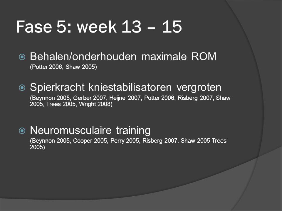 Fase 5: week 13 – 15  Behalen/onderhouden maximale ROM (Potter 2006, Shaw 2005)  Spierkracht kniestabilisatoren vergroten (Beynnon 2005, Gerber 2007, Heijne 2007, Potter 2006, Risberg 2007, Shaw 2005, Trees 2005, Wright 2008)  Neuromusculaire training (Beynnon 2005, Cooper 2005, Perry 2005, Risberg 2007, Shaw 2005 Trees 2005)
