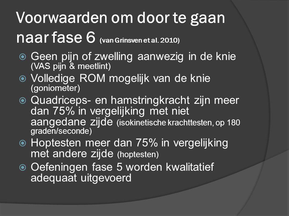 Voorwaarden om door te gaan naar fase 6 (van Grinsven et al. 2010)  Geen pijn of zwelling aanwezig in de knie (VAS pijn & meetlint)  Volledige ROM m