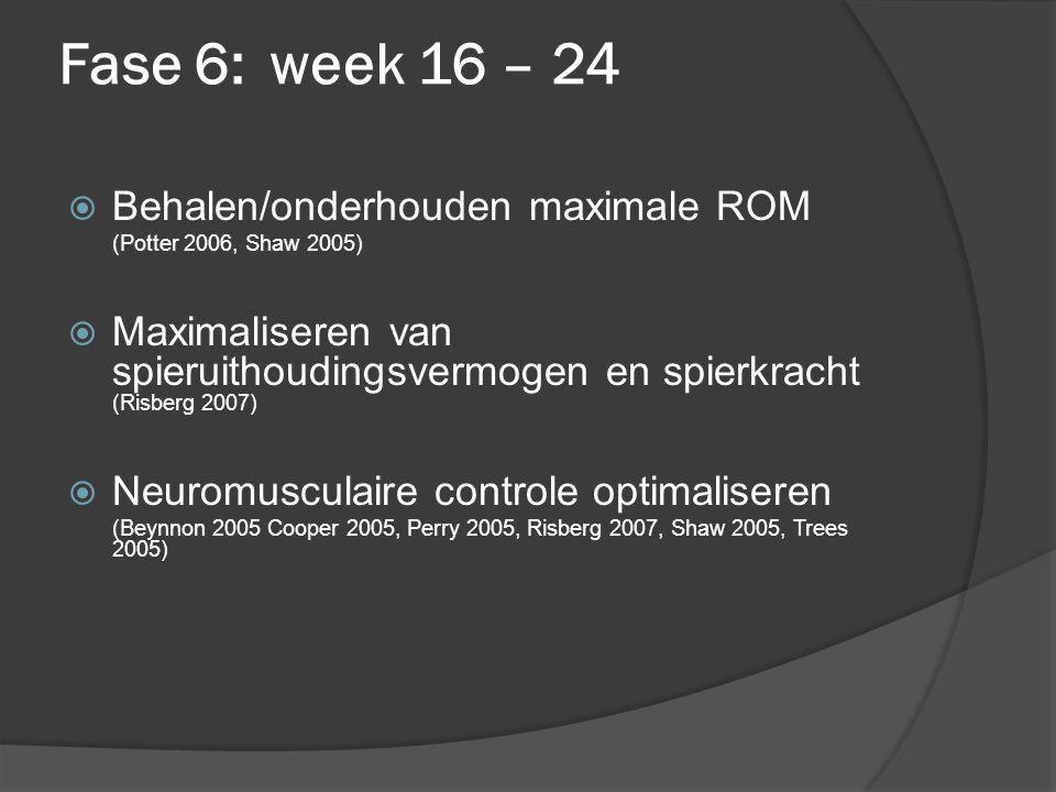 Fase 6:week 16 – 24  Behalen/onderhouden maximale ROM (Potter 2006, Shaw 2005)  Maximaliseren van spieruithoudingsvermogen en spierkracht (Risberg 2007)  Neuromusculaire controle optimaliseren (Beynnon 2005 Cooper 2005, Perry 2005, Risberg 2007, Shaw 2005, Trees 2005)