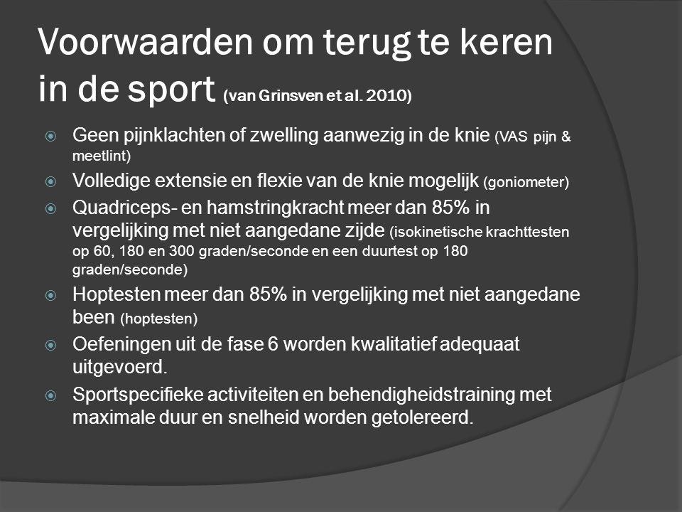 Voorwaarden om terug te keren in de sport (van Grinsven et al. 2010)  Geen pijnklachten of zwelling aanwezig in de knie (VAS pijn & meetlint)  Volle