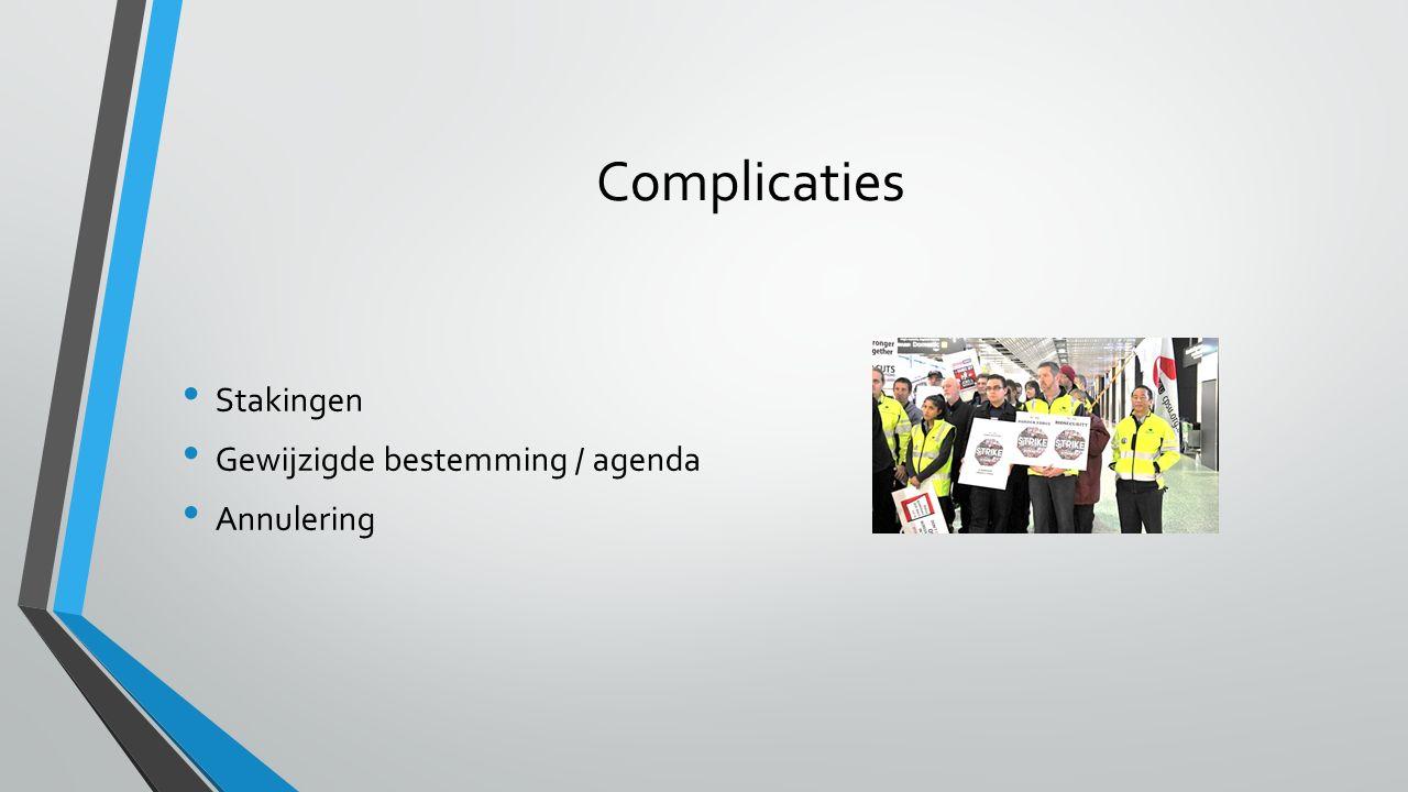 Complicaties Stakingen Gewijzigde bestemming / agenda Annulering