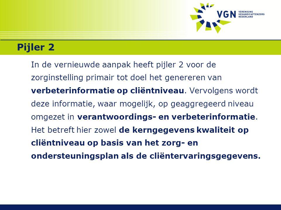 Pijler 2  2A: Kerngegevens kwaliteit op cliëntniveau (Basis: veiligheid, vrijheidsbeperkende maatregelen, medicatieveiligheid, zorgafspraken en ondersteuningsplan; Thema 2012 lichamelijke gezondheid)  2B: Cliëntervaringsgegevens op basis van waaier inclusief 1 ultieme vraag met maximaal 5 uniforme subvragen t.b.v.