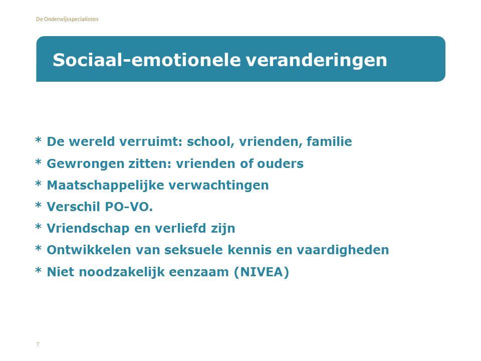 De Onderwijsspecialisten * De wereld verruimt: school, vrienden, familie * Gewrongen zitten: vrienden of ouders * Maatschappelijke verwachtingen * Verschil PO-VO.