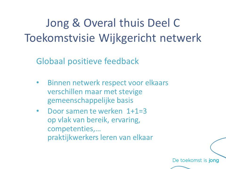 Jong & Overal thuis Deel C Toekomstvisie Wijkgericht netwerk Globaal positieve feedback Binnen netwerk respect voor elkaars verschillen maar met stevige gemeenschappelijke basis Door samen te werken 1+1=3 op vlak van bereik, ervaring, competenties,… praktijkwerkers leren van elkaar