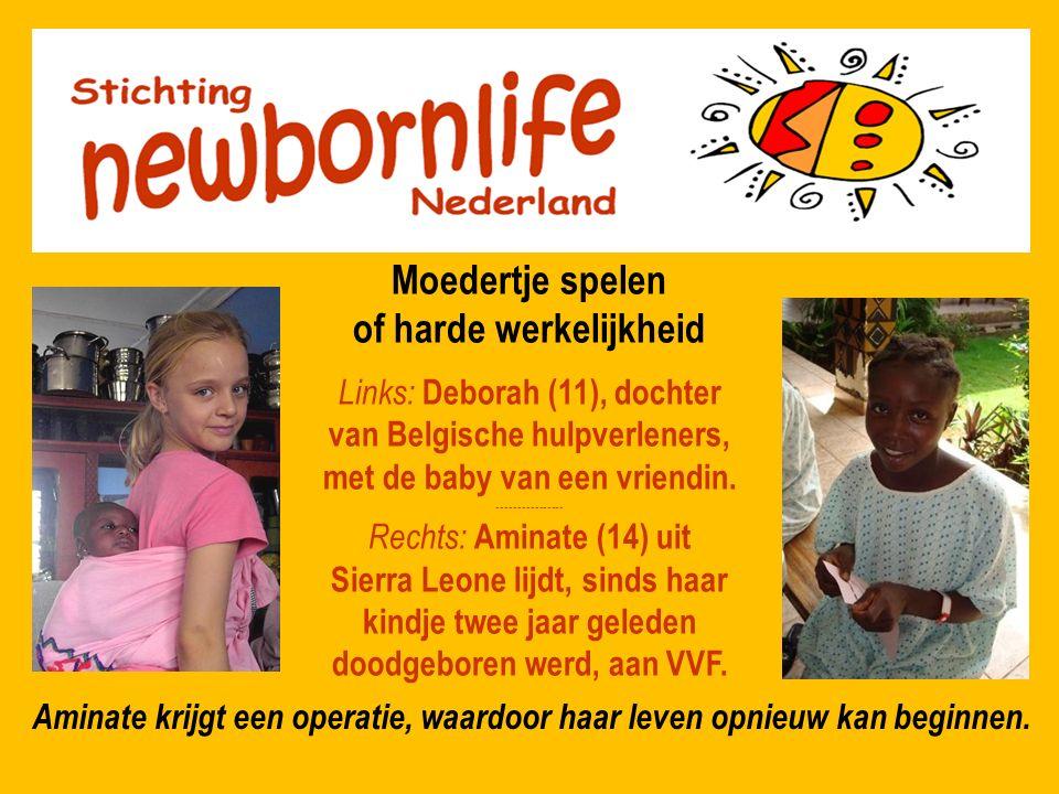 Moedertje spelen of harde werkelijkheid Links: Deborah (11), dochter van Belgische hulpverleners, met de baby van een vriendin. ---------------- Recht
