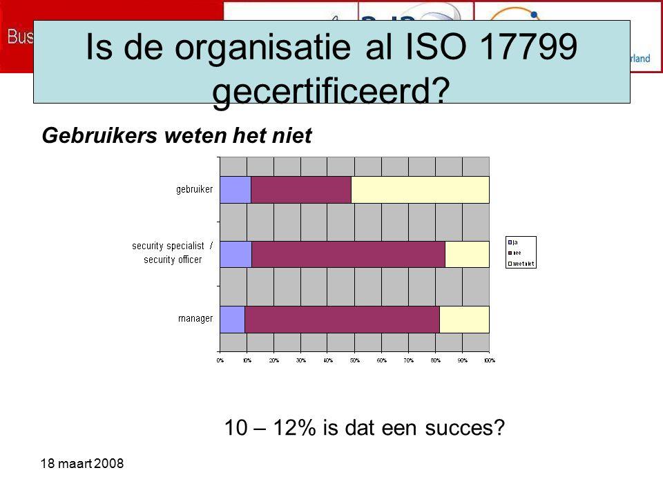 18 maart 2008 Is de organisatie al ISO 17799 gecertificeerd.