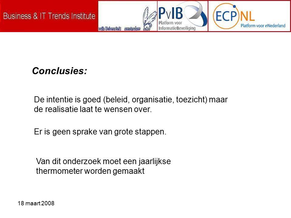 18 maart 2008 Conclusies: De intentie is goed (beleid, organisatie, toezicht) maar de realisatie laat te wensen over.