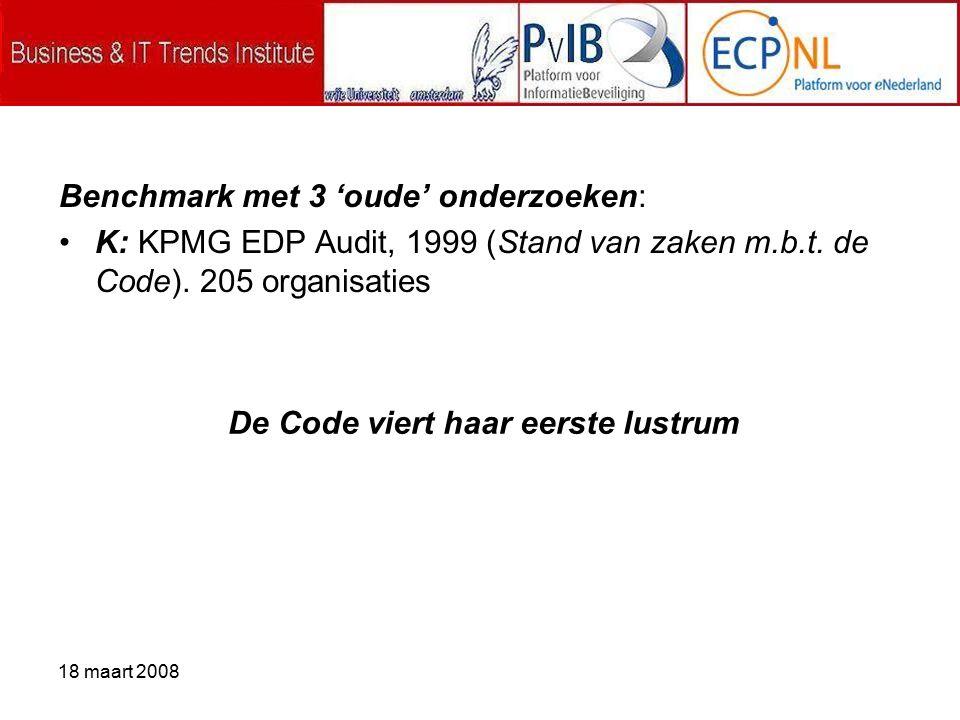 18 maart 2008 Benchmark met 3 'oude' onderzoeken: K: KPMG EDP Audit, 1999 (Stand van zaken m.b.t.