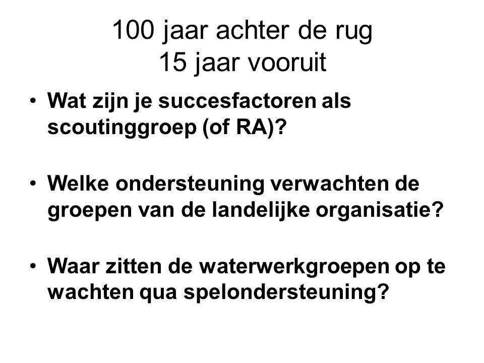 100 jaar achter de rug 15 jaar vooruit Wat zijn je succesfactoren als scoutinggroep (of RA).