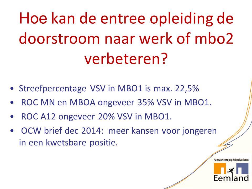 Hoe kan de entree opleiding de doorstroom naar werk of mbo2 verbeteren? Streefpercentage VSV in MBO1 is max. 22,5% ROC MN en MBOA ongeveer 35% VSV in