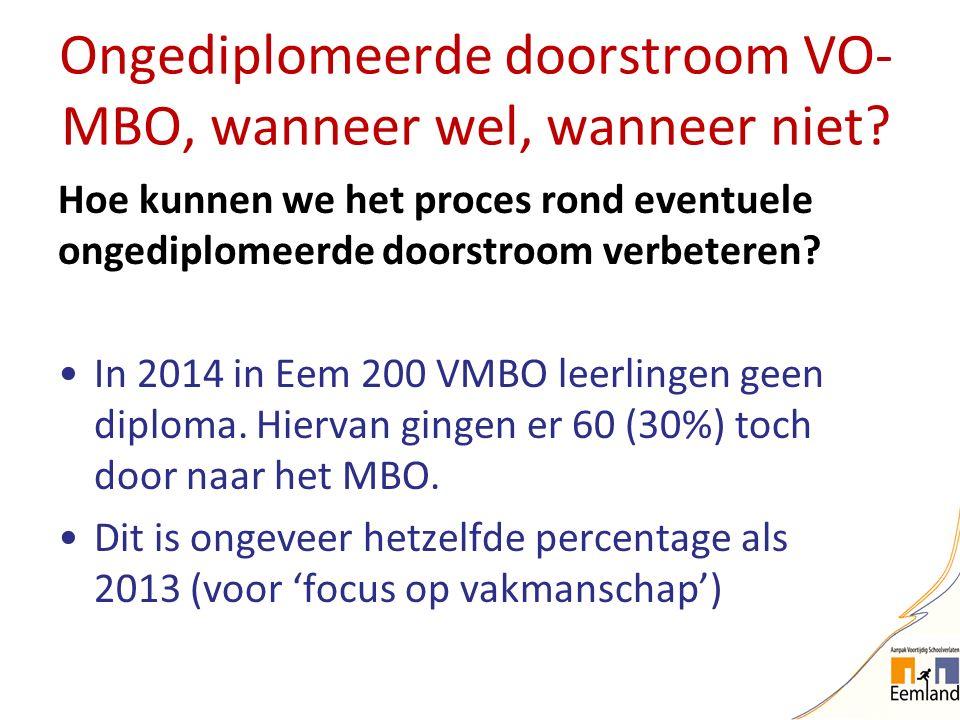 Ongediplomeerde doorstroom VO- MBO, wanneer wel, wanneer niet? Hoe kunnen we het proces rond eventuele ongediplomeerde doorstroom verbeteren? In 2014