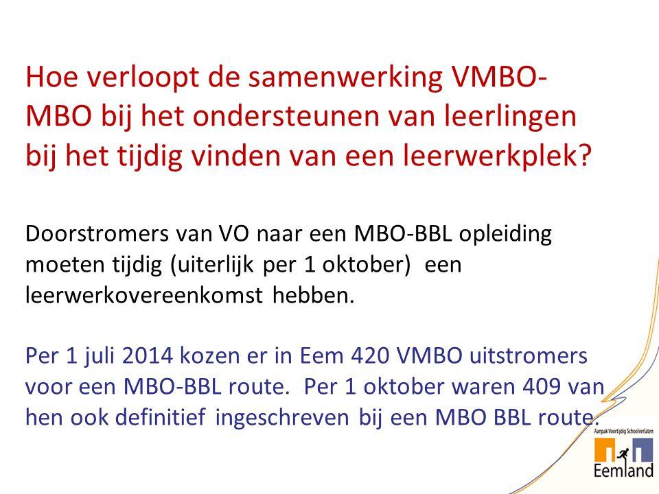 Hoe verloopt de samenwerking VMBO- MBO bij het ondersteunen van leerlingen bij het tijdig vinden van een leerwerkplek? Doorstromers van VO naar een MB